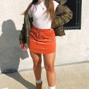Orange Lace Up Skirt